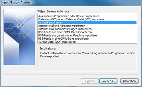 Outlook 2010 export
